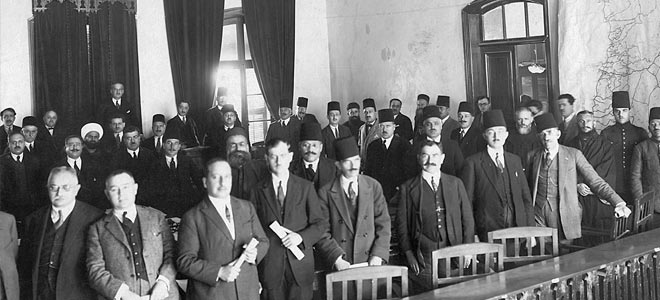 Members of the 1925 Parliament - Michel Chiha is not in the photo as he usually did his best to avoid having his picture taken. From right to left, Jamil Talhouq, Alphonse Ayoub, Chible Dammous, Elie Skaf, Auguste Pacha-Adlib, Ibrahim Haidar, Sheikh Mohamed el-Djisr, Abd-al Latif al-Assad, Sobhi Haidar, Moussa Nammour, Habib Pacha al-Saad, the Emir Jamil Chehab, Salim Takla, Negib Aboussouan, Michel Nahas, roukox Abou-Nader and Charles Debbas.